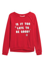 Sweatshirt with a motif - Red/Stars - Kids | H&M GB 2