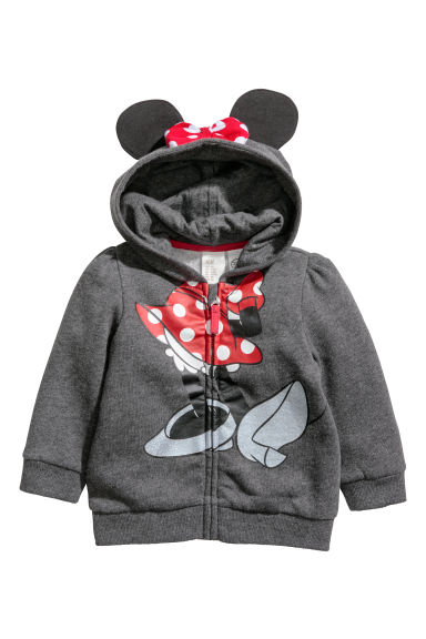 Hooded jacket with appliqués - Dark grey/Minnie Mouse - Kids | H&M