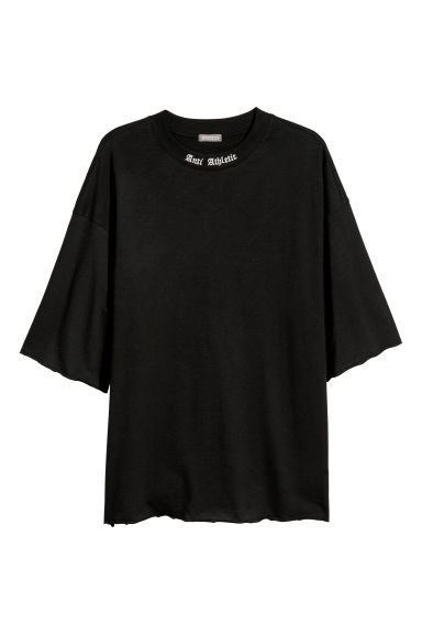 T-shirt with embroidery - Black - Men | H&M