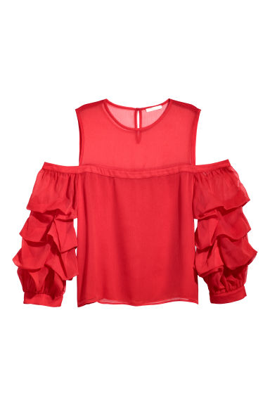 Chiffon top - Coral red - Ladies | H&M CN