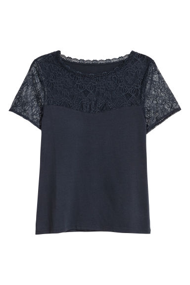 H&M+ Top with a lace yoke - Blue-grey - Ladies | H&M CN