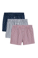3-pack woven boxer shorts - Dark blue/Patterned - Men | H&M CN 2
