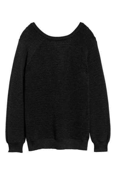 Textured-knit jumper - Black/Glittery - Ladies | H&M