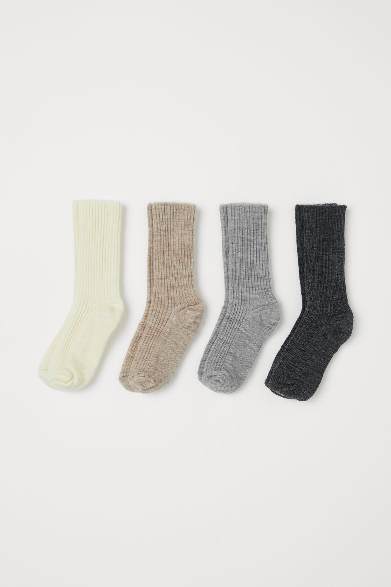 4-pack wool-blend socks - Grey marl -  | H&M GB