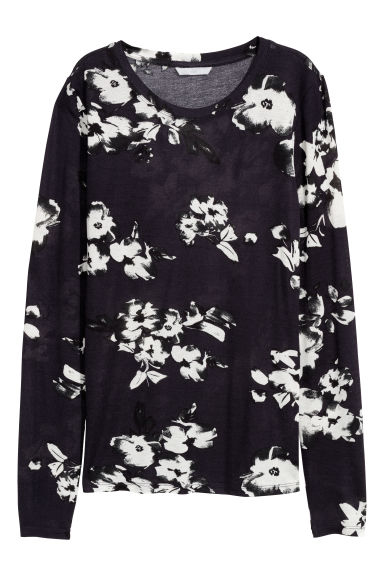 Top - Dark blue/Patterned -  | H&M IE