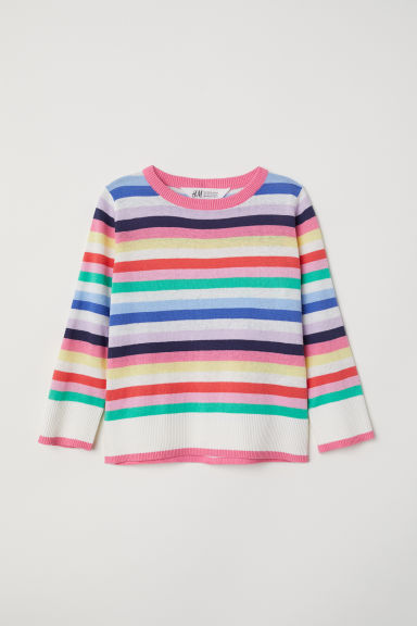 Fine-knit jumper - Pink/Striped -  | H&M CN