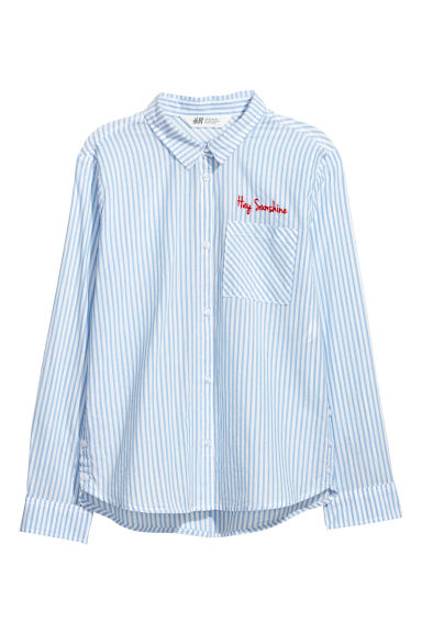 Generous Fit Cotton shirt - Light blue/Striped - Kids | H&M CN
