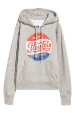Sweat-shirt à capuche - Gris clair/Pepsi - FEMME | H&M BE 2