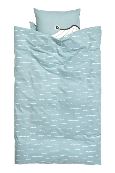 Patterned duvet cover set - Light blue/Whale - Home All | H&M CN