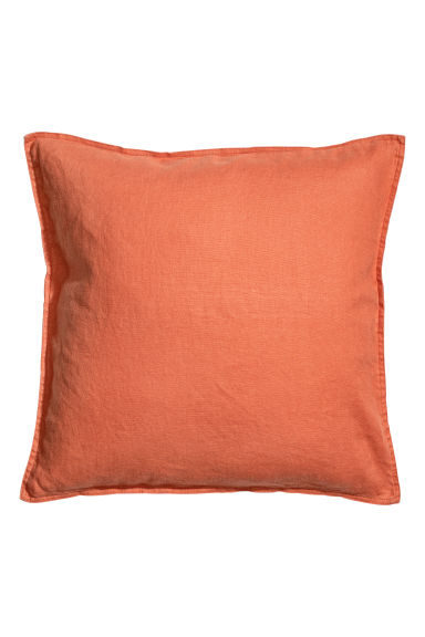 Washed linen cushion cover - Orange - Home All | H&M CN