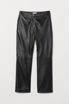 Ankle-length leather trousers