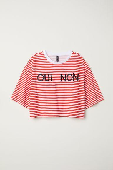 Short-sleeved sweatshirt - White/Red striped - | H&M GB