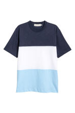 Block-patterned T-shirt - Dark blue -  | H&M 2