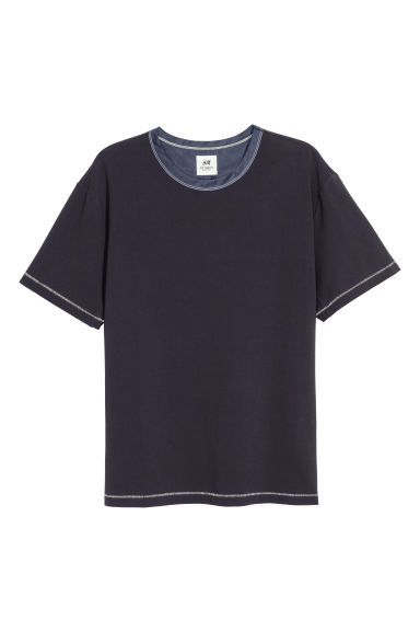 Cotton T-shirt - Dark blue - Men | H&M