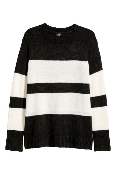 Knitted wool-blend jumper - Black/White striped -  | H&M