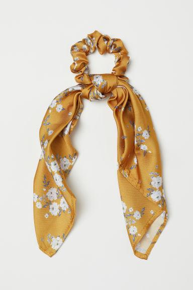 Scrunchie With Scarf Detail Dark Yellow Floral Ladies