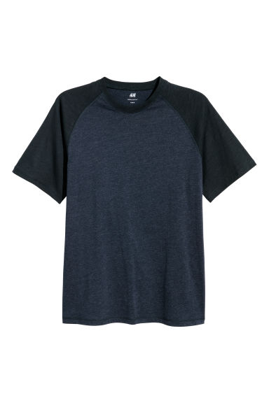 T-shirt with raglan sleeves - Dark blue marl - Men | H&M