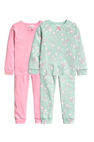 2-pack jersey pyjamas - Mint green/Popcorn - Kids | H&M