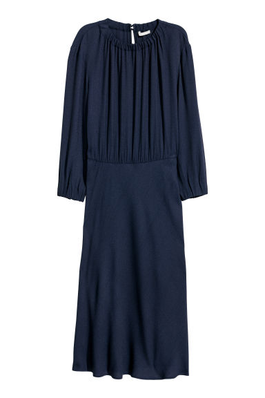 Crêpe dress - Dark blue -  | H&M CN