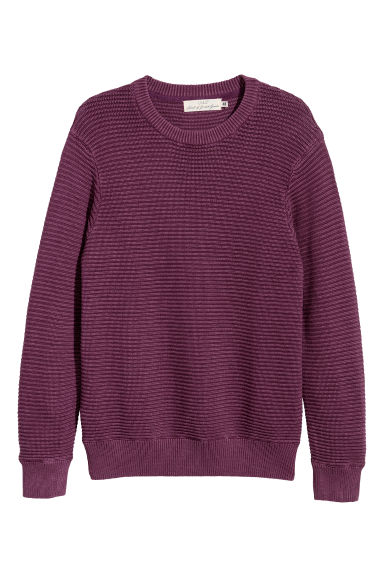 Rib-knit cotton jumper - Dark purple -  | H&M
