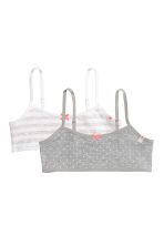 2-pack crop tops - Grey marl/Striped - Kids | H&M 1