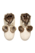 Padded slippers - Natural white/Brown - Ladies | H&M 1