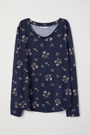 Long-sleeved jersey top - Dark blue/Patterned -  | H&M IE