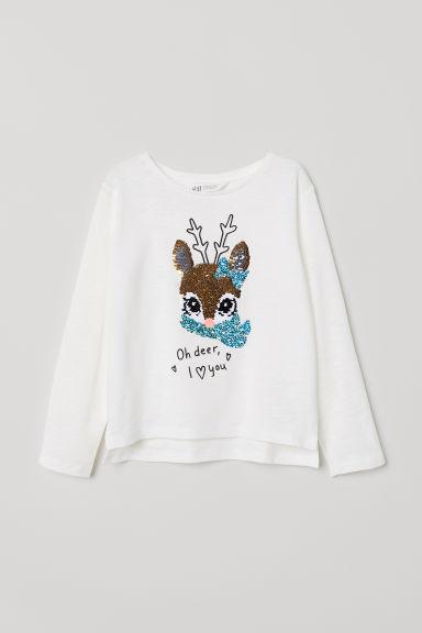 Appliquéd top - White/Deer - Kids | H&M GB