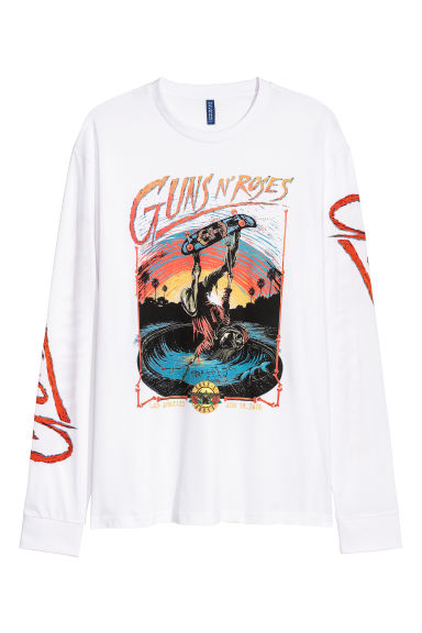 Printed jersey top - Natural white/Guns N' Roses - Men | H&M