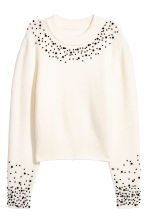 Jumper with beaded embroidery - White - Ladies | H&M 2