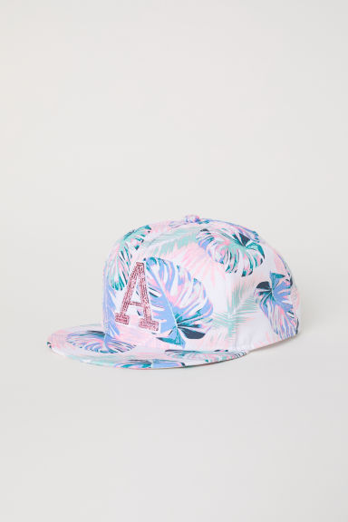 Cap with a motif - White/Leaf-patterned - Kids | H&M CN