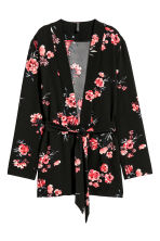 Jacket with a tie belt - Black/Floral - Ladies | H&M 2