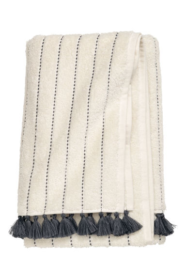 Tasselled bath towel - Cream/Anthracite grey - Home All | H&M CN