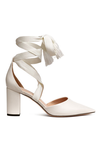 Court shoes with ties - White - Ladies | H&M CN