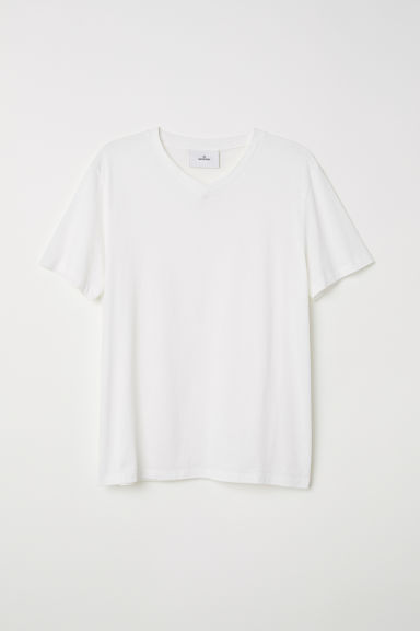 Cotton and silk T-shirt - White - Men | H&M IE