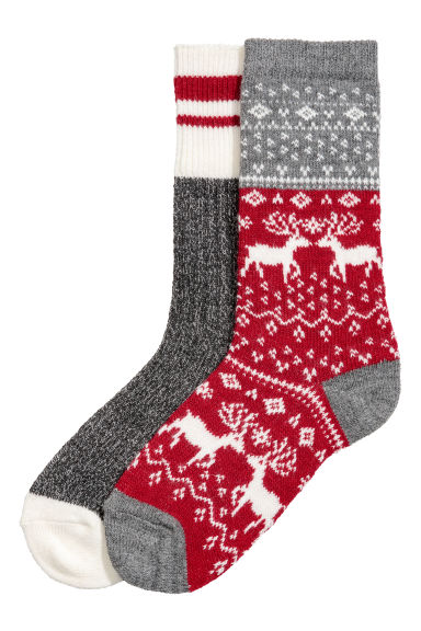 2-pack wool-blend socks - Grey marl/Red - Ladies | H&M CN