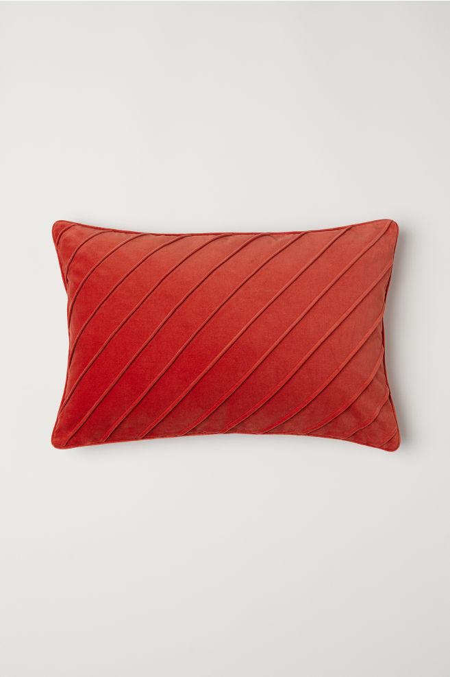 Cotton Velvet Cushion Cover - Dark orange - Home All | H&M US 2