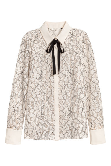 Long-sleeved blouse - Natural white -  | H&M
