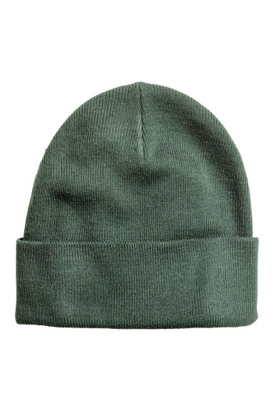 Knitted hat - Khaki green - Men | H&M IE