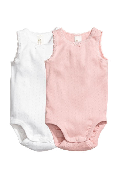 Bodies sans manches, lot de 2 - Rose poudré/pointelle - ENFANT | H&M CH