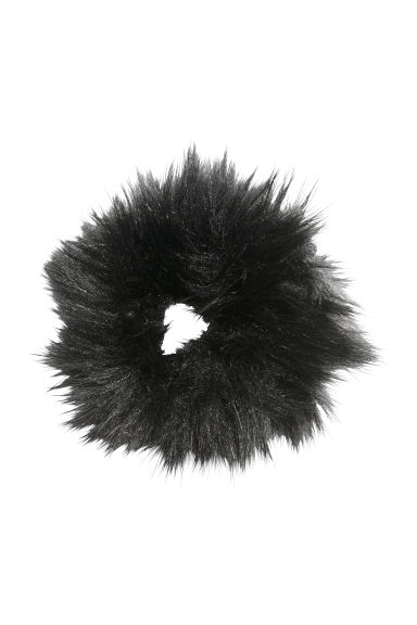 Faux fur hair elastic - Black -  | H&M IE