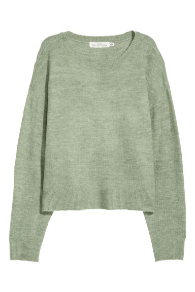 Knitted jumper - Dusky green - Ladies | H&M GB