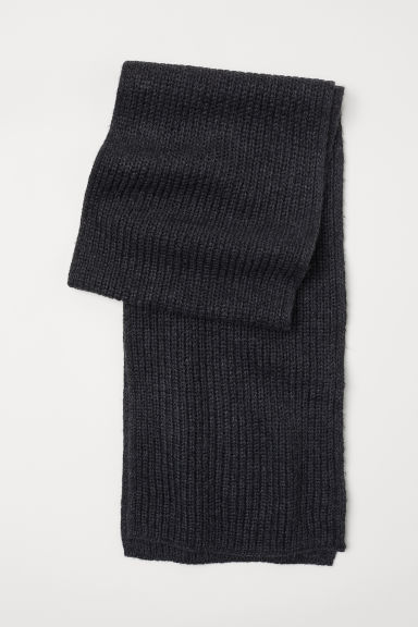 Ribbed scarf - Anthracite grey -  | H&M