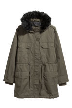 H&M+ Cotton parka - Dark khaki green - Ladies | H&M IE 2