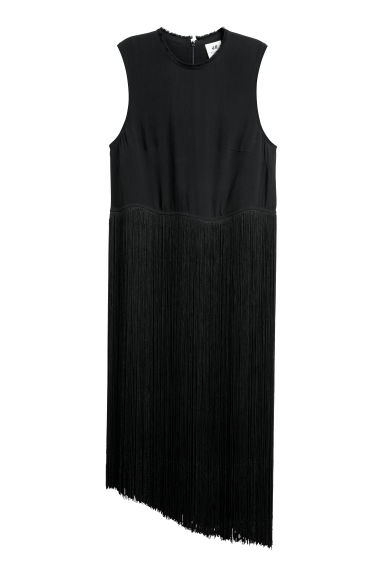 Long top with fringing - Black - Ladies | H&M