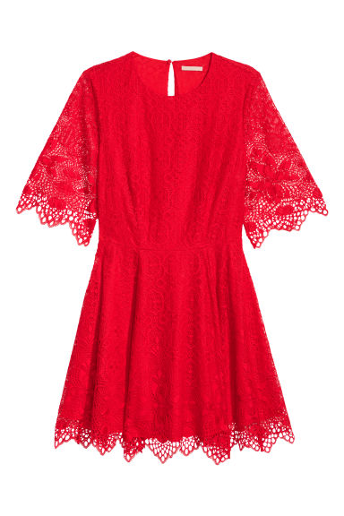 H&M+ Robe en dentelle - Rouge vif -  | H&M BE
