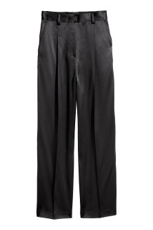 Wide satin suit trousers