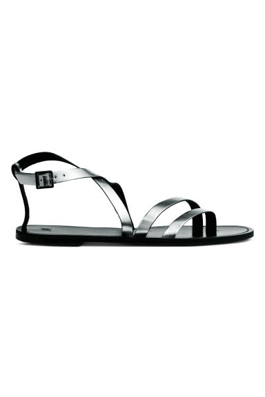 Leather sandals - Silver-coloured -  | H&M CN