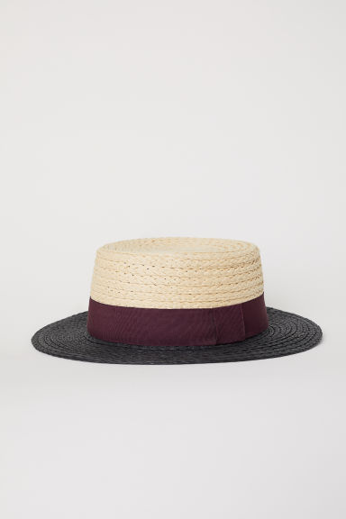 Cappello in paglia color block - Nero/beige chiaro -  | H&M IT