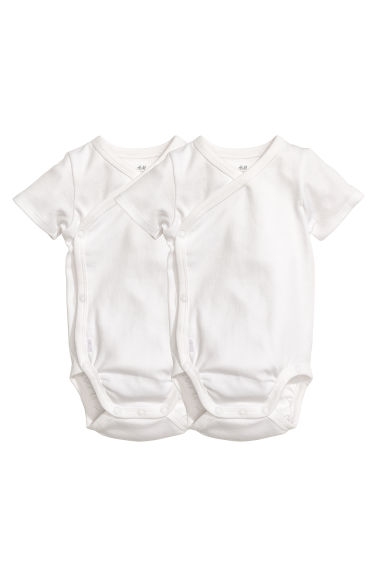 2-pack wrapover bodysuits - White - Kids | H&M